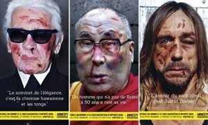 Karl Lagerfeld, the Dalai Lama and Iggy Pop, part of Amnesty International's Stop Torture campaign