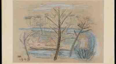 Eugenio Montale_Bozzetto Apres midi - pastello su cartoncino grigio - 1948 - 25,5x17cm _inv702 - Courtesy Fondazione CR Firenze